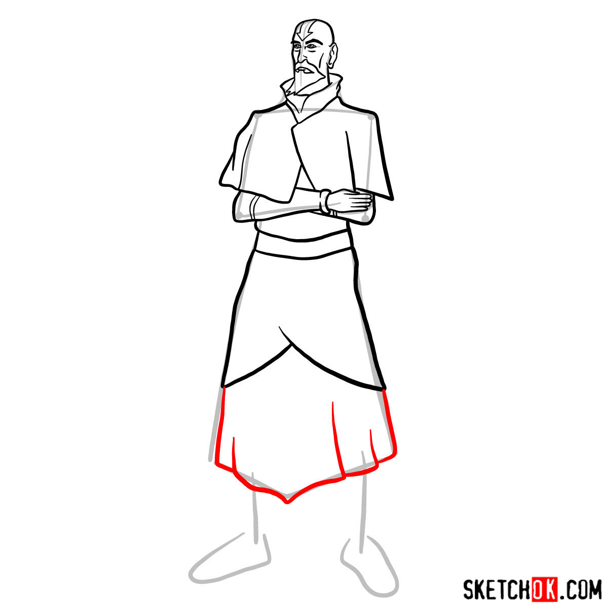 How to draw Tenzin - step 10