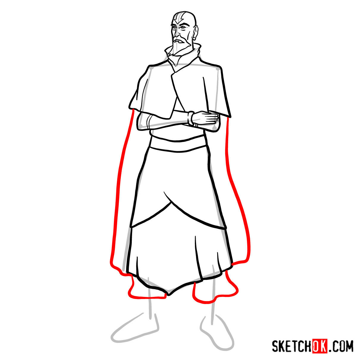 How to draw Tenzin - step 11