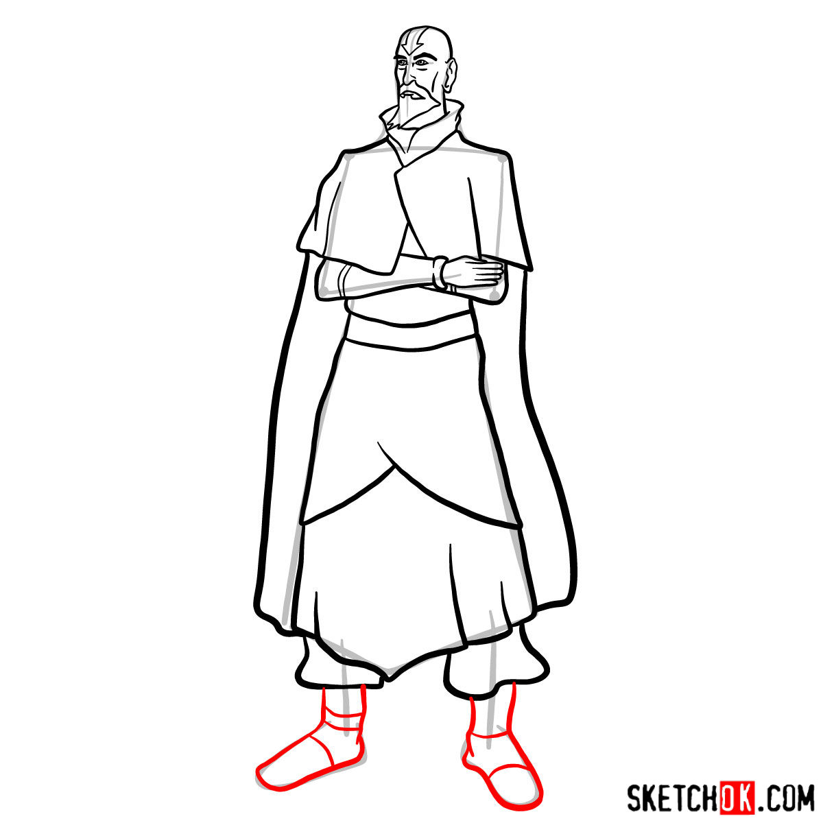 How to draw Tenzin - step 12