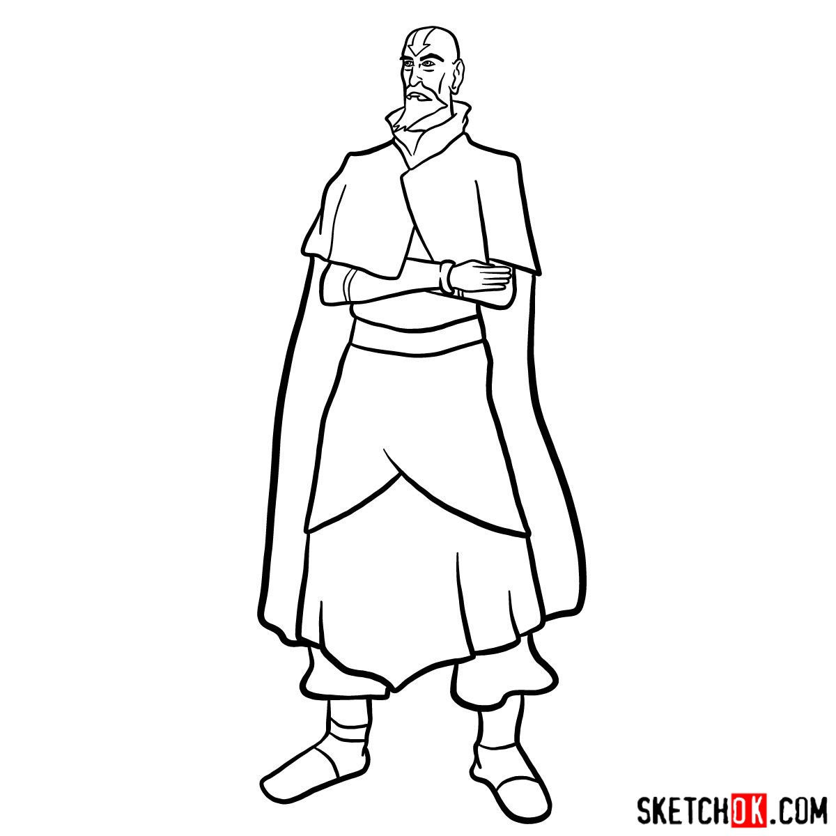 How to draw Tenzin - step 13