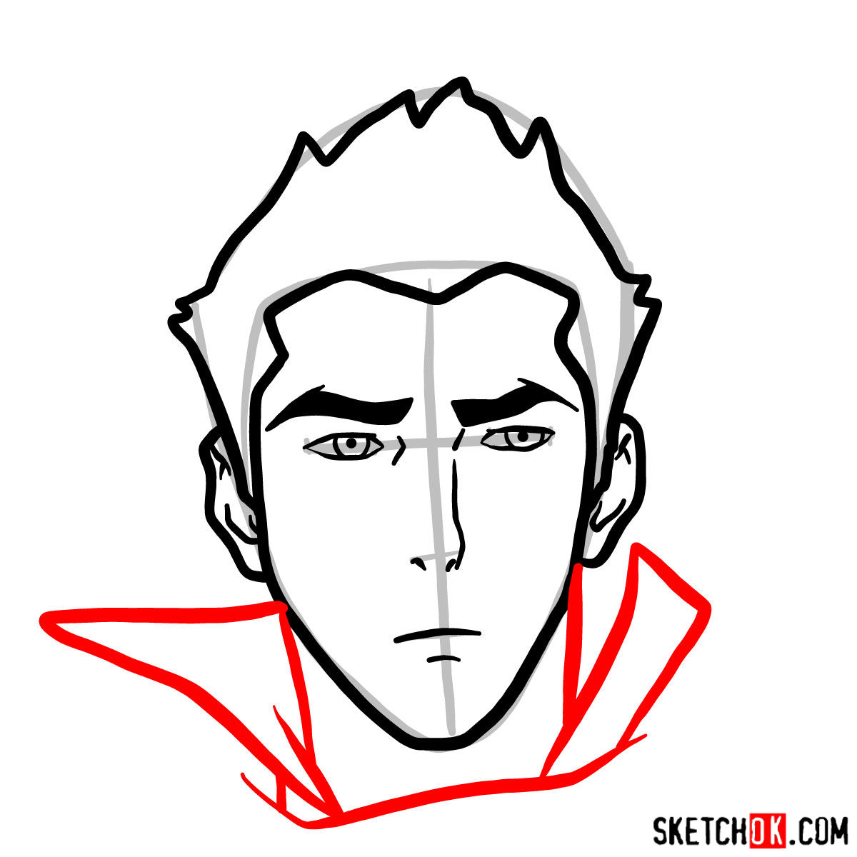 How to draw Mako's face -  step 06