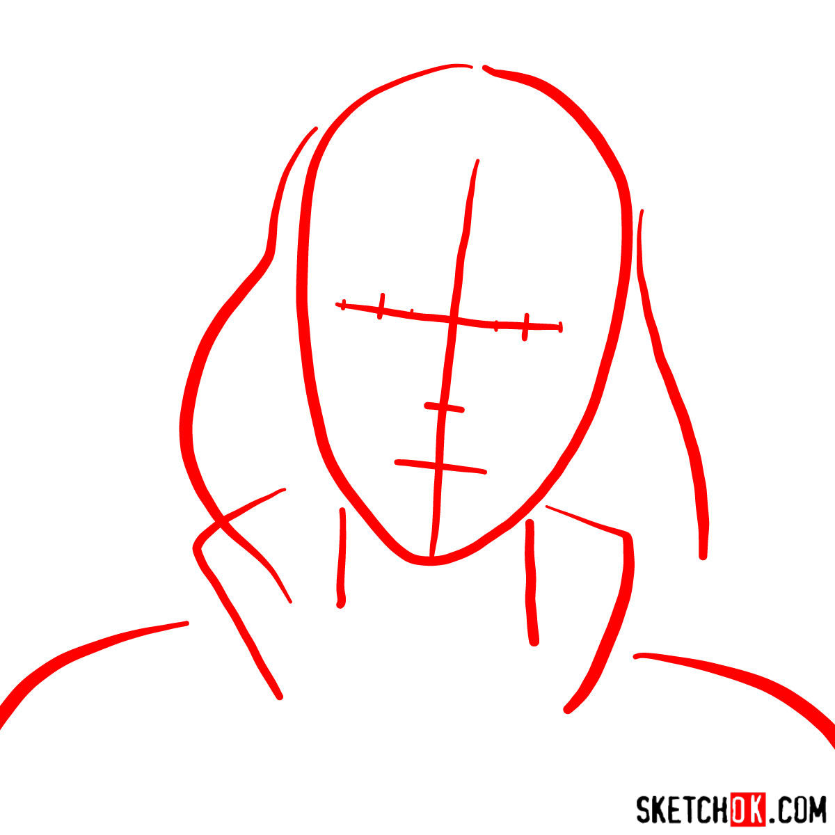 How to draw Asami Sato's portrait - step 01