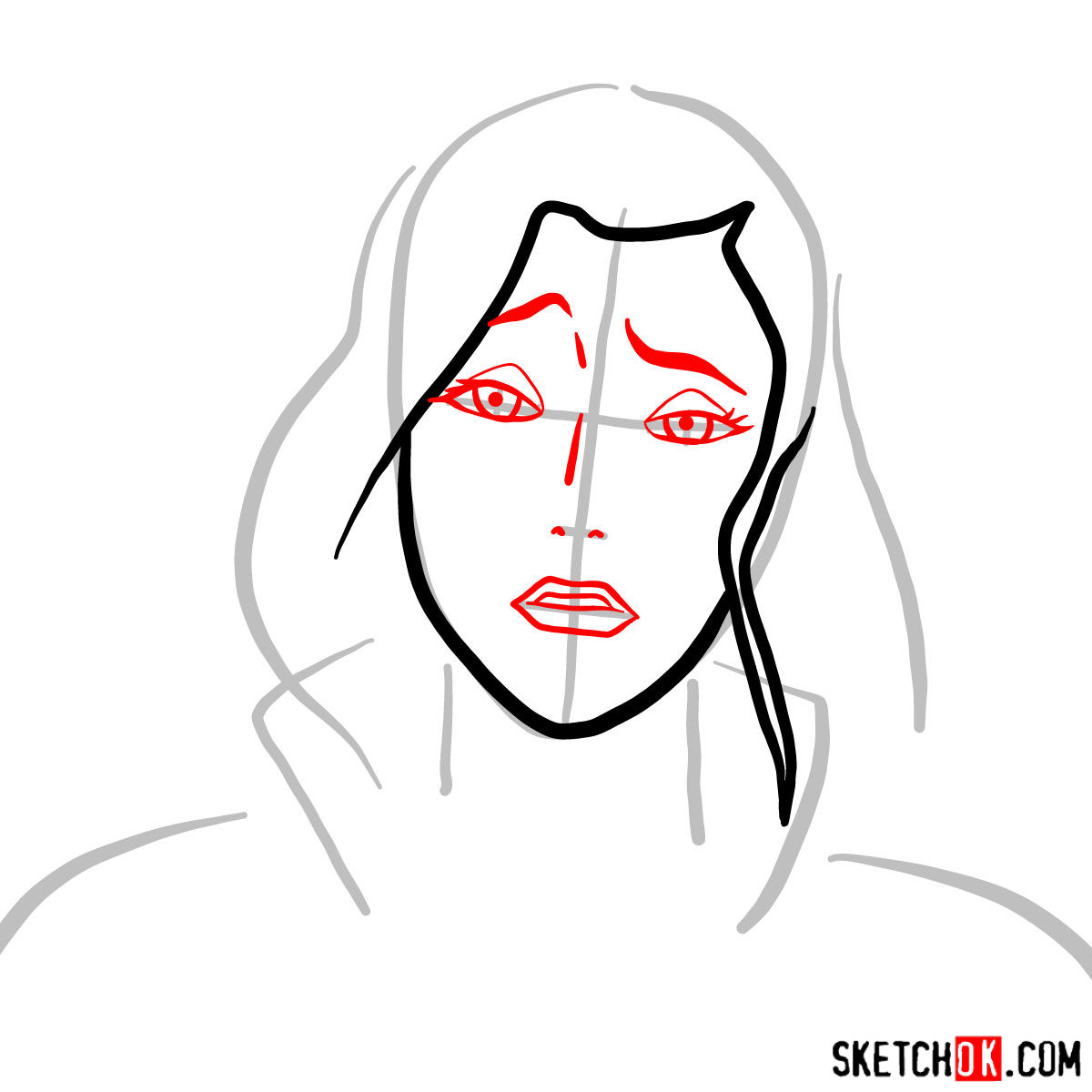 How to draw Asami Sato's portrait - step 03