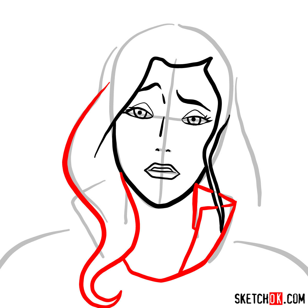 How to draw Asami Sato's portrait - step 04