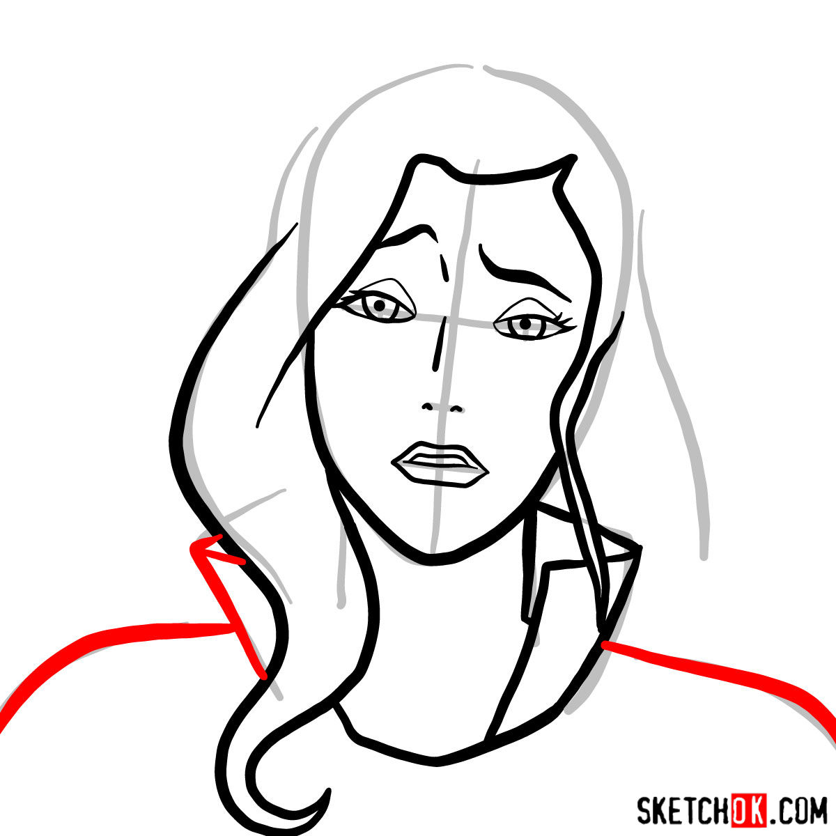 How to draw Asami Sato's portrait - step 05