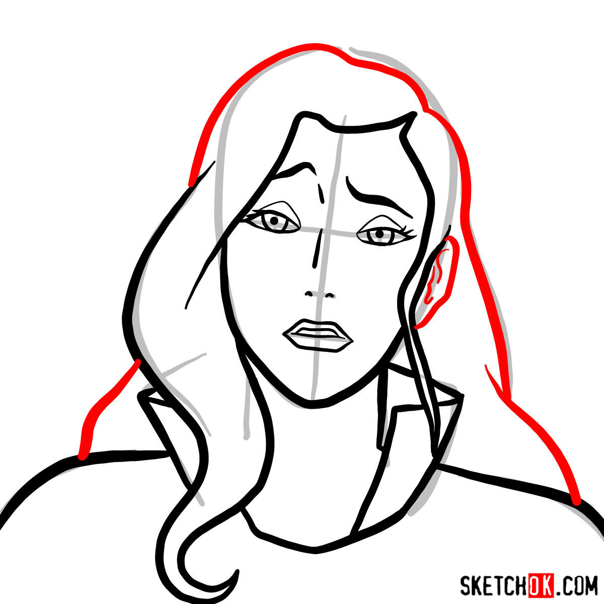 How to draw Asami Sato's portrait -  step 06