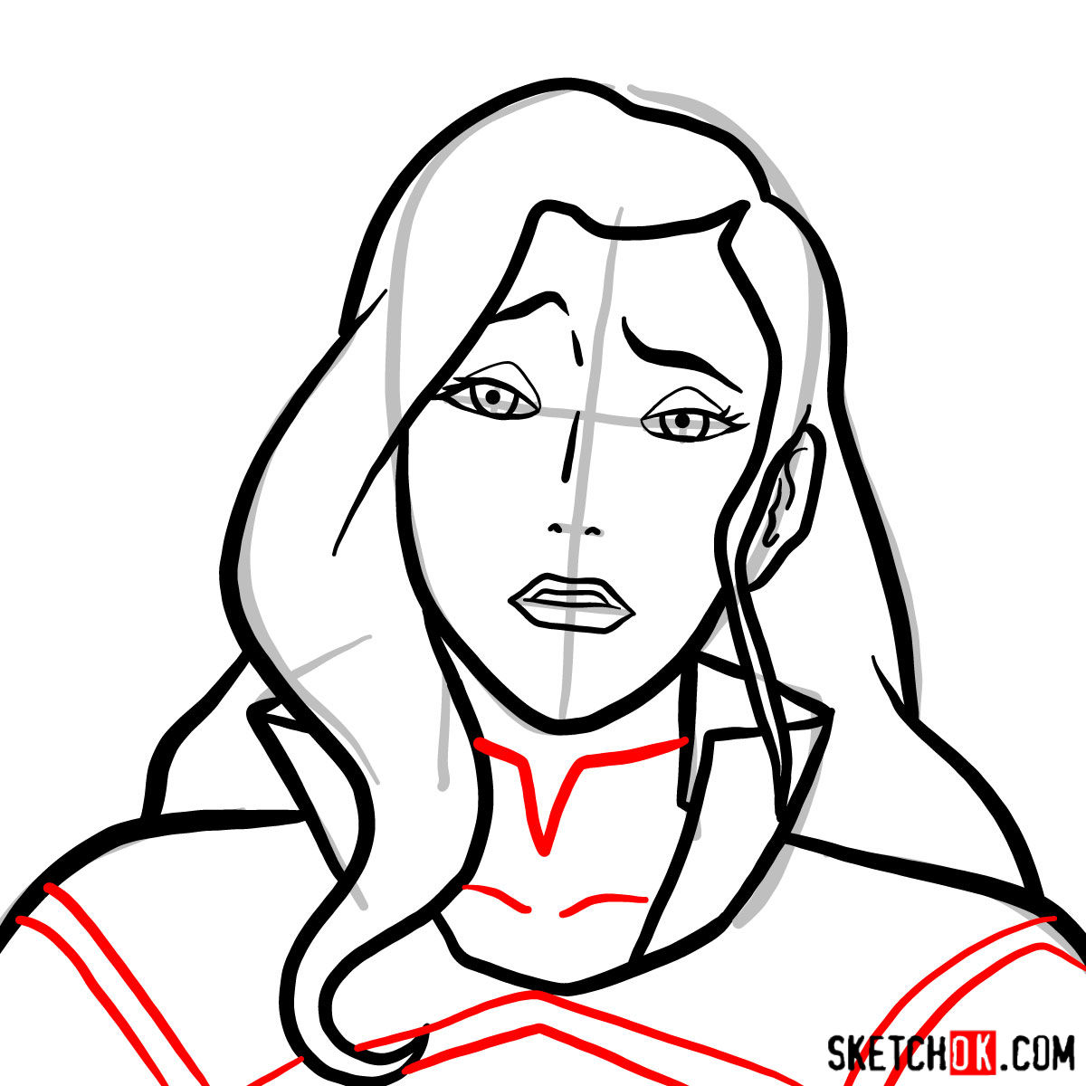 How to draw Asami Sato's portrait - step 07