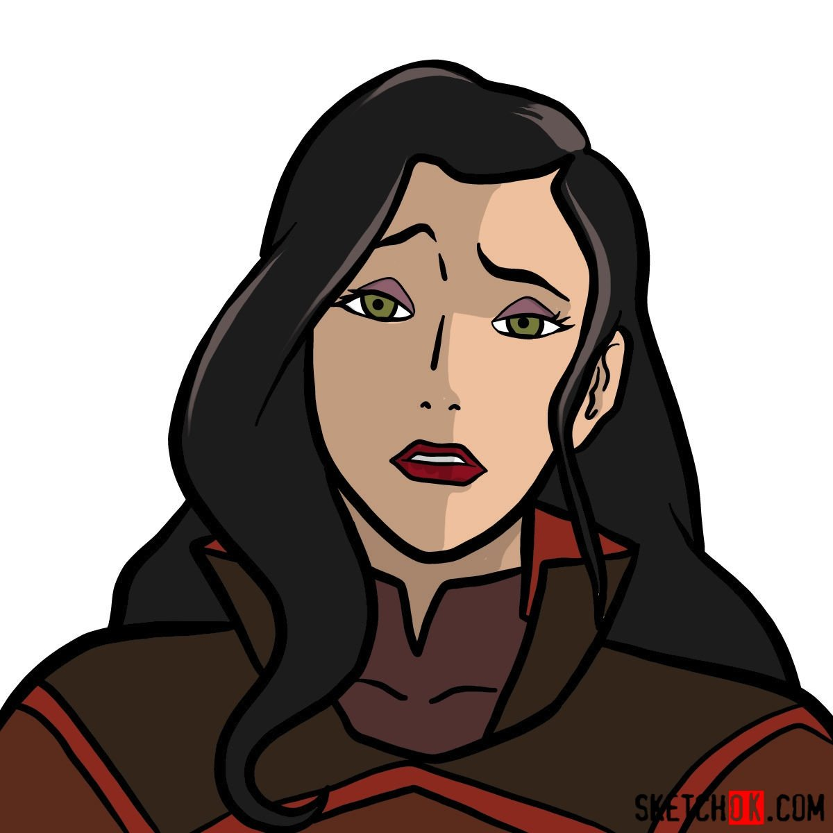 How to draw Asami Sato's portrait