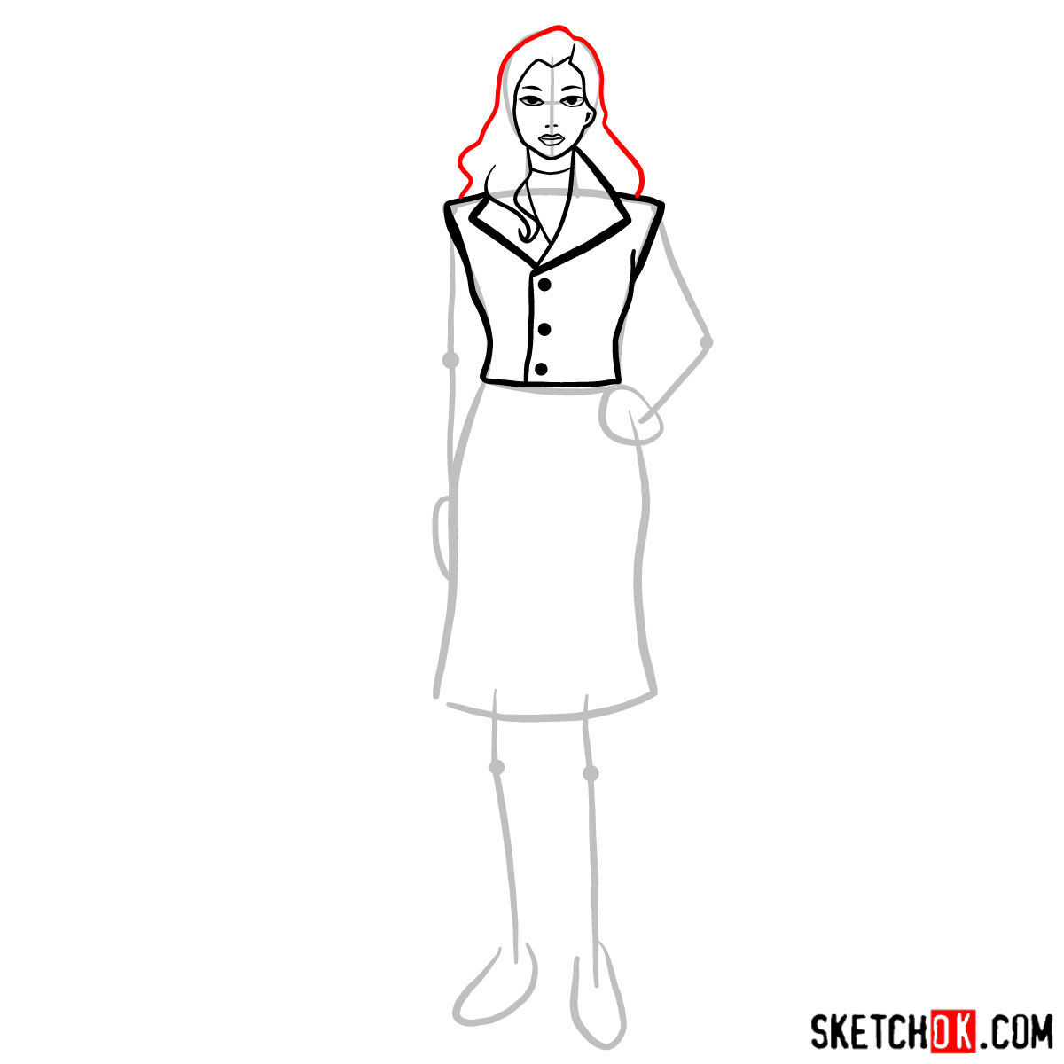 How to draw Asami Sato -  step 06