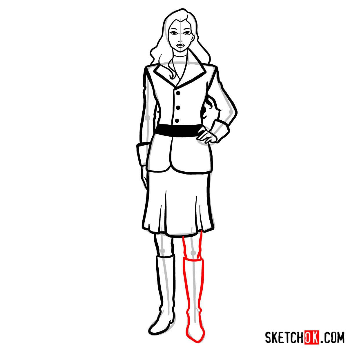How to draw Asami Sato - step 12