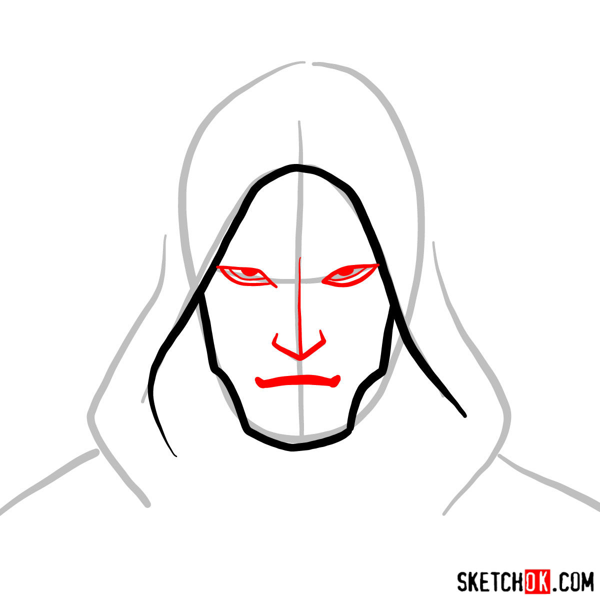 How to draw Amon's face - step 03