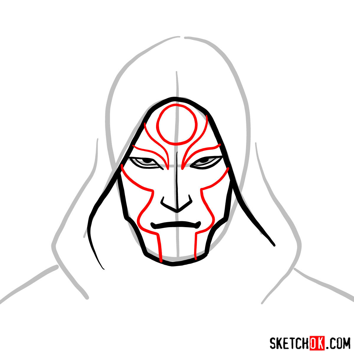 How to draw Amon's face - step 04