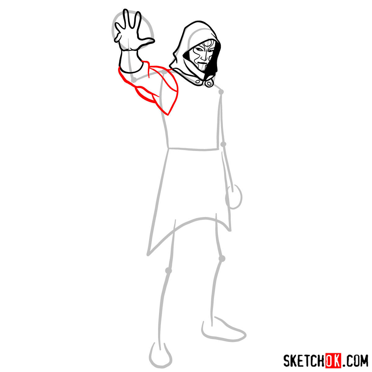 How to draw Amon - step 07