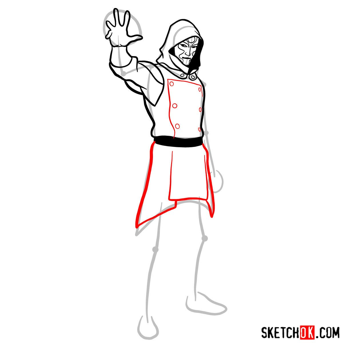 How to draw Amon - step 09