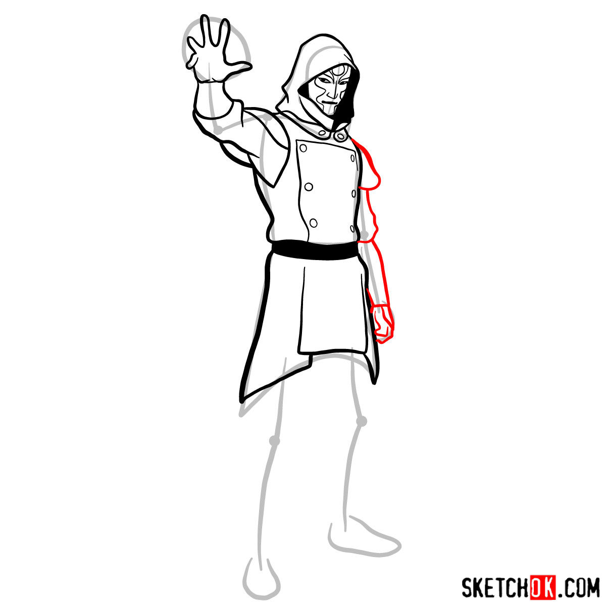 How to draw Amon - step 10