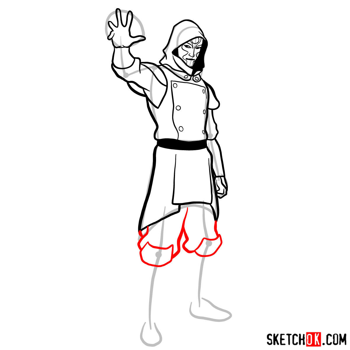 How to draw Amon - step 11