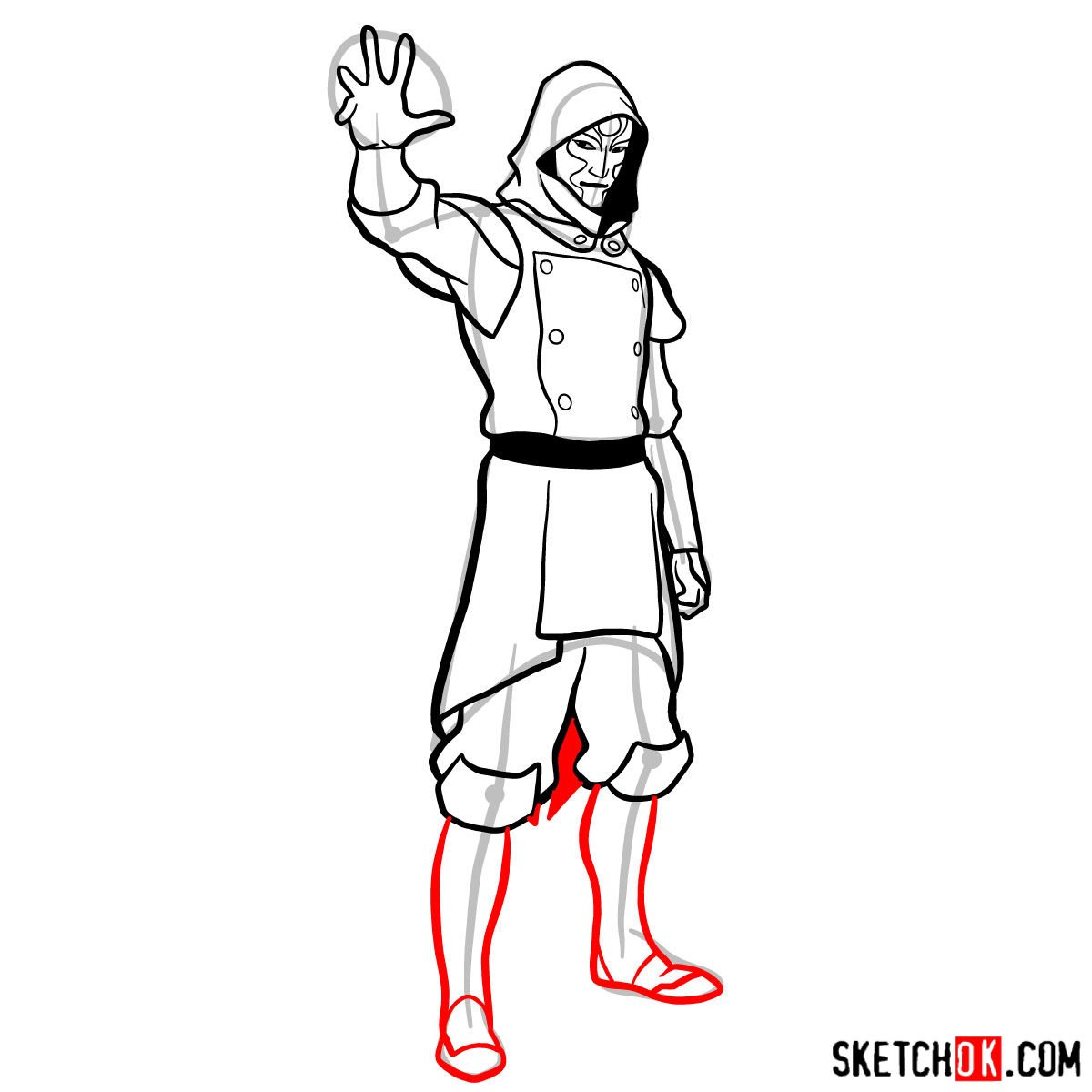 How to draw Amon - step 12