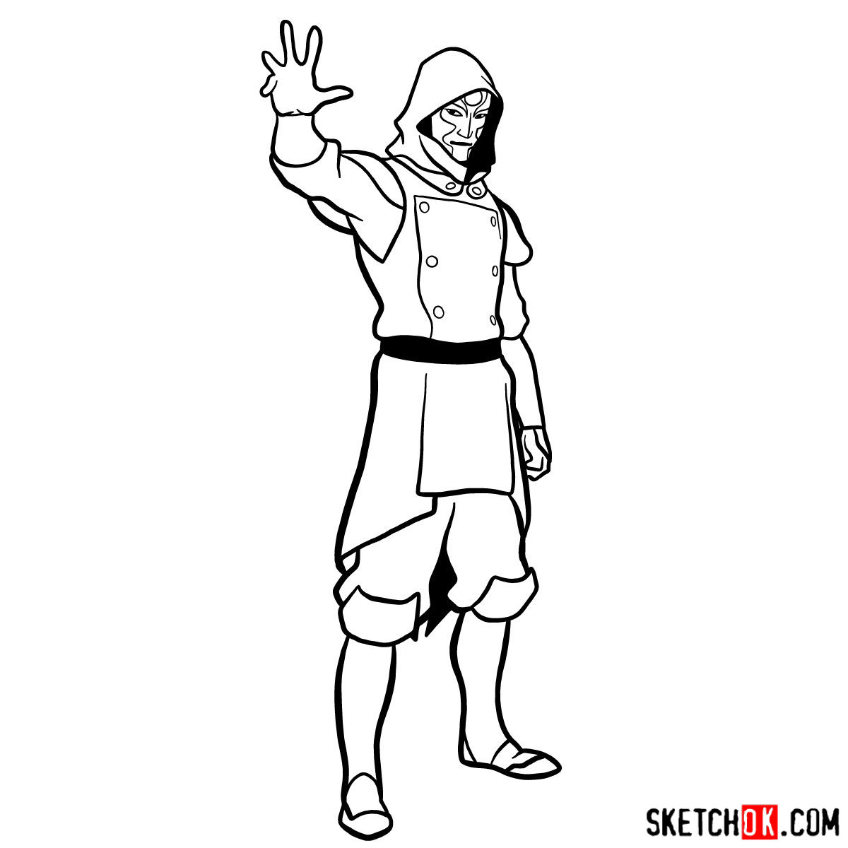 How to draw Amon - step 13