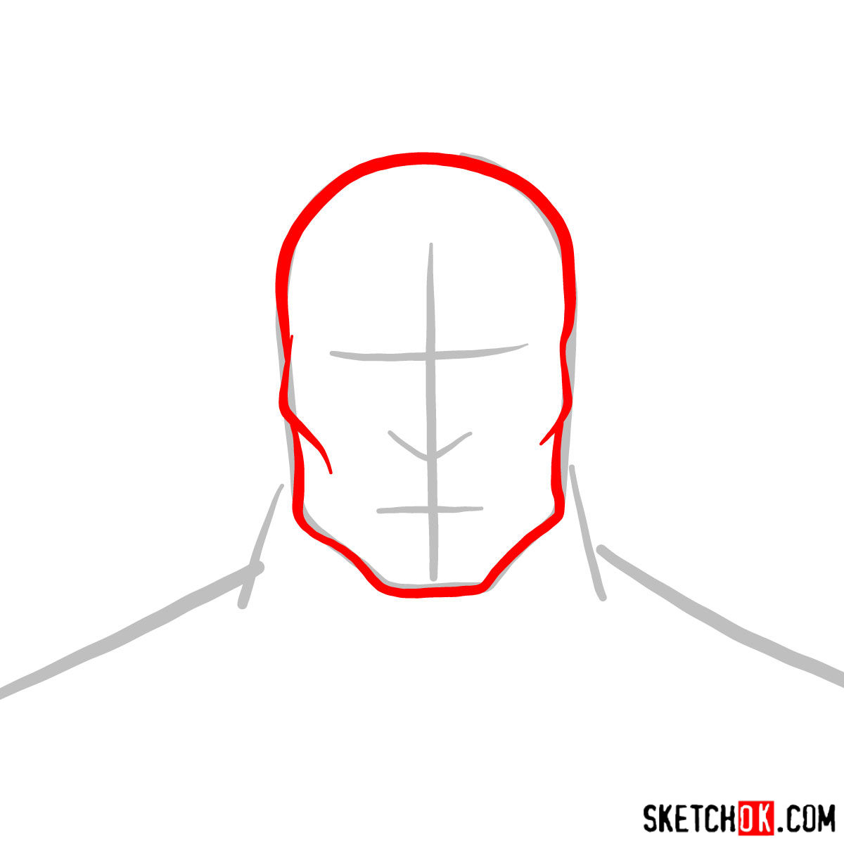 How to draw Zaheer's face - step 02