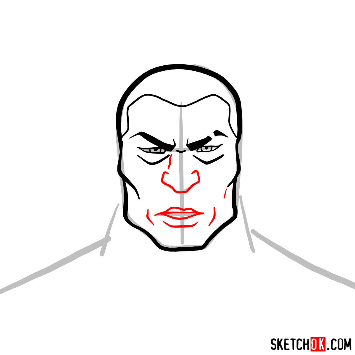 How to draw Zaheer's face - step 04
