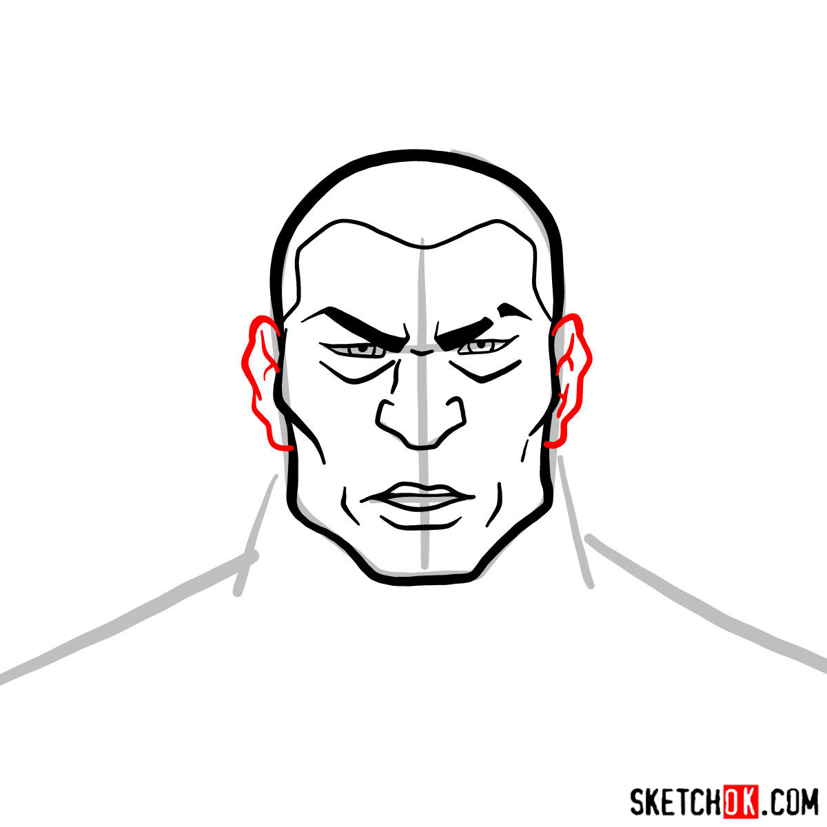 How to draw Zaheer's face - step 05
