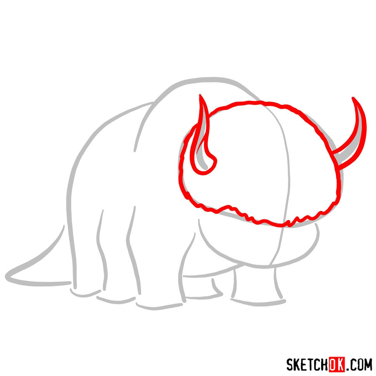 How to draw Appa - step 02