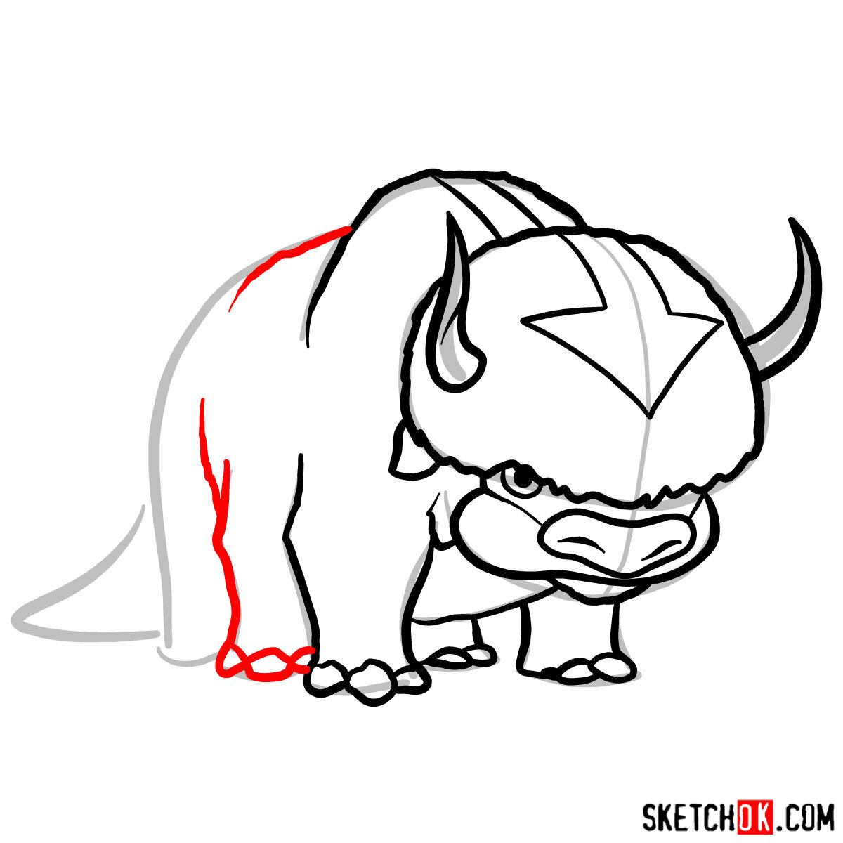 How to draw Appa - step 08