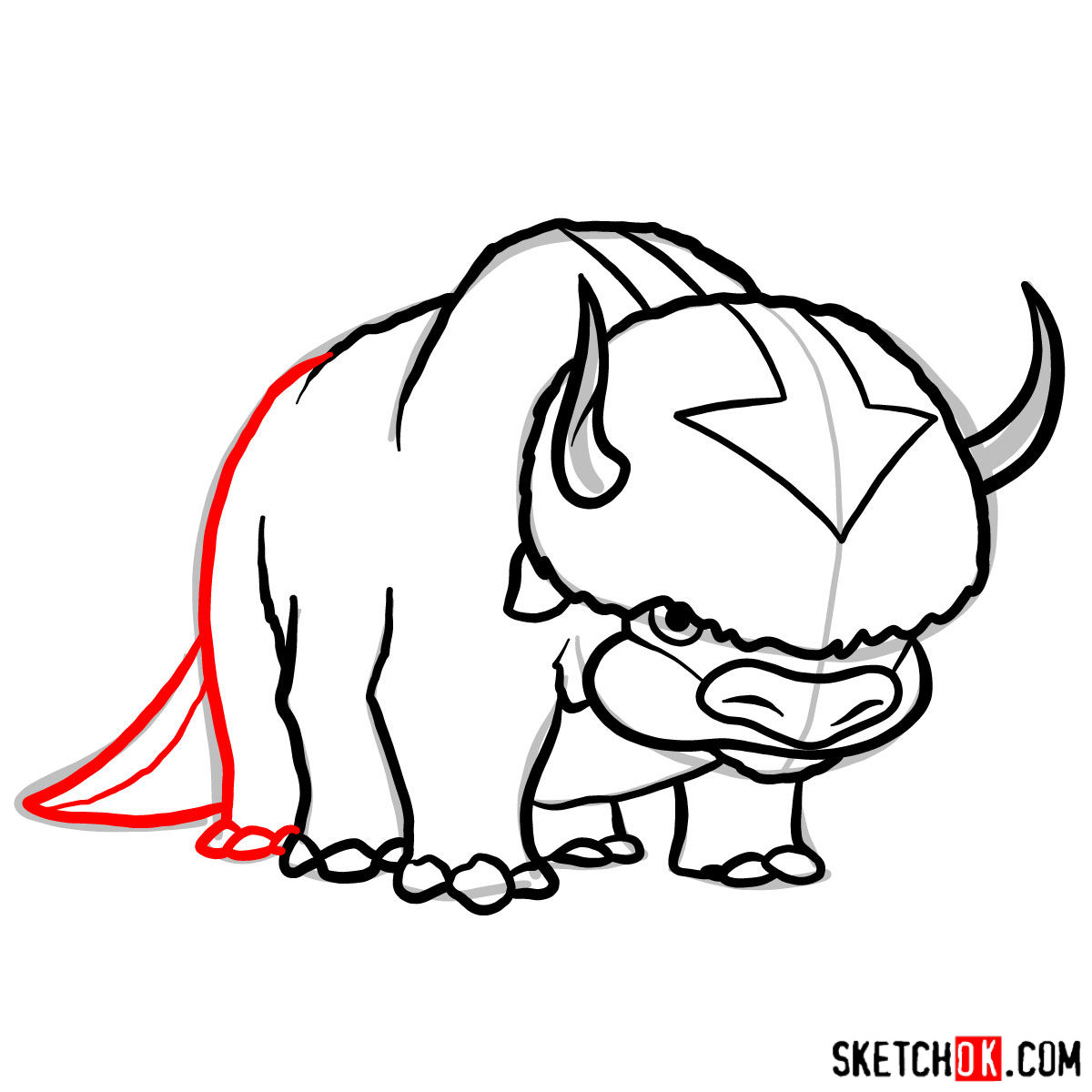 How to draw Appa - step 09