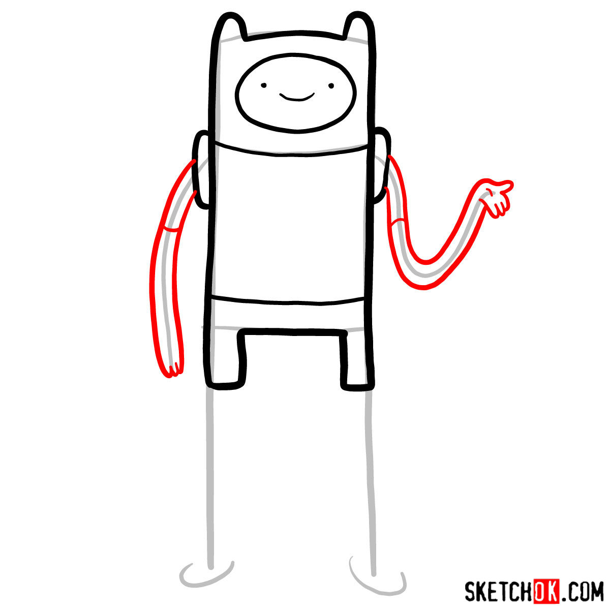 How to draw Finn from Adventure Time - step 05