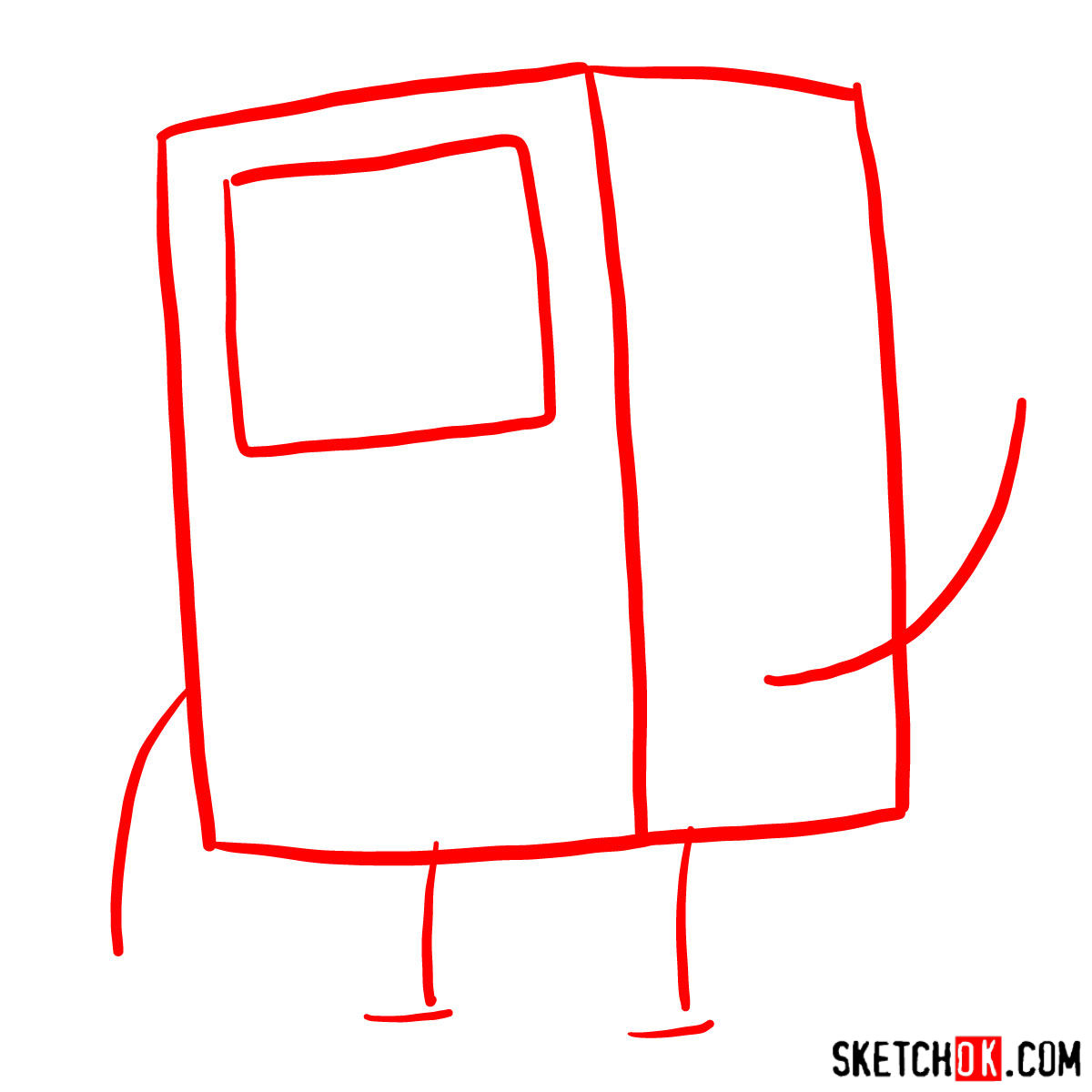 How to draw BMO from Adventure Time - step 01