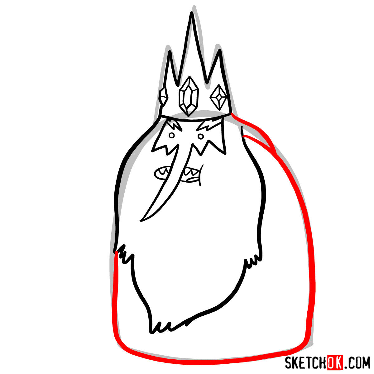 How to draw Ice King -  step 06