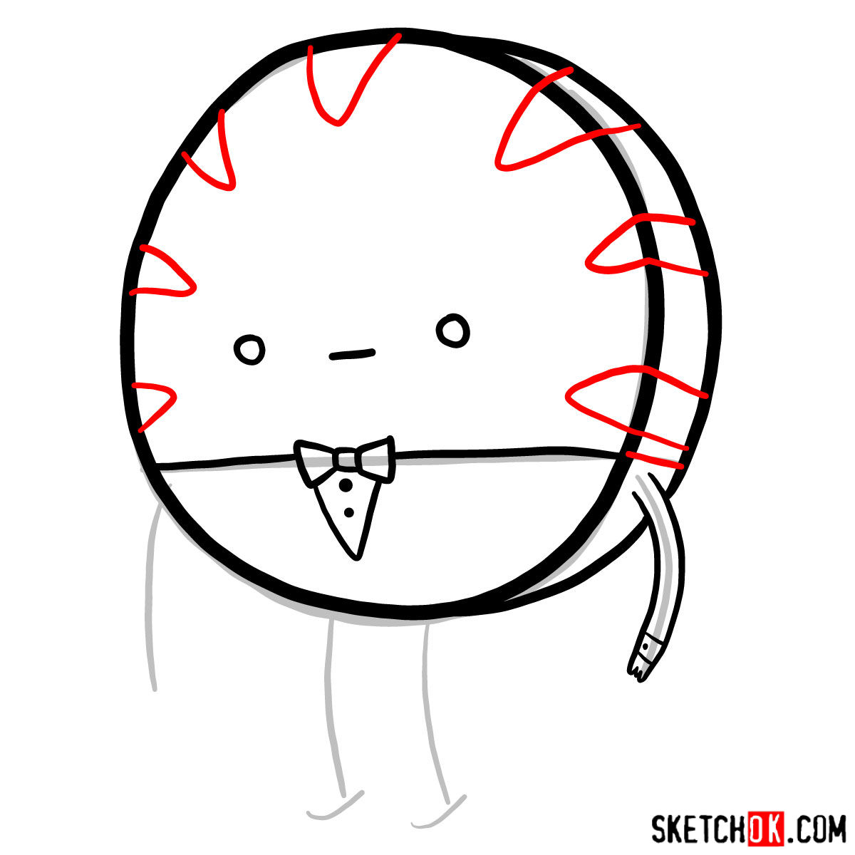 How to draw Peppermint Butler - step 05