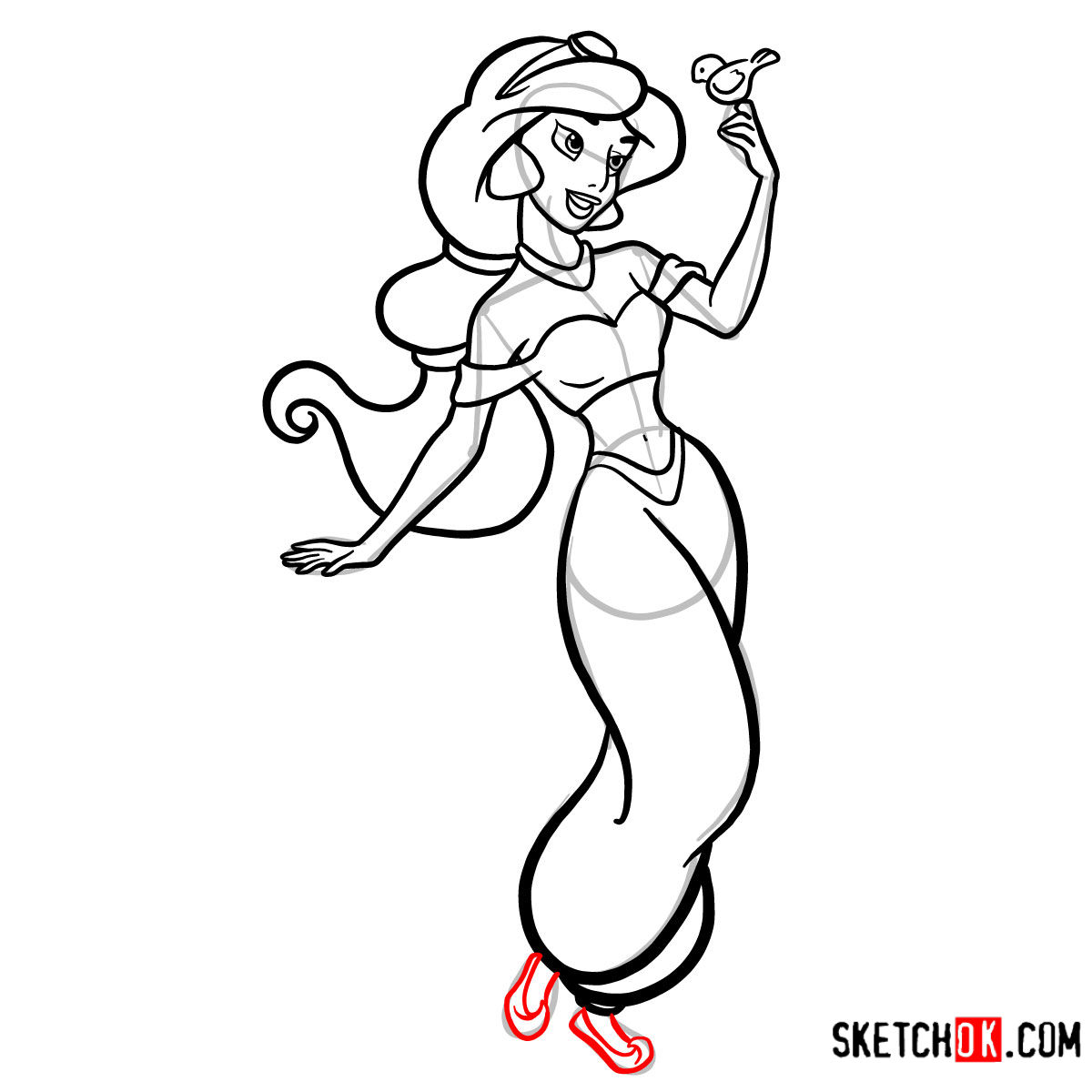 How to draw Princess Jasmine - step 13