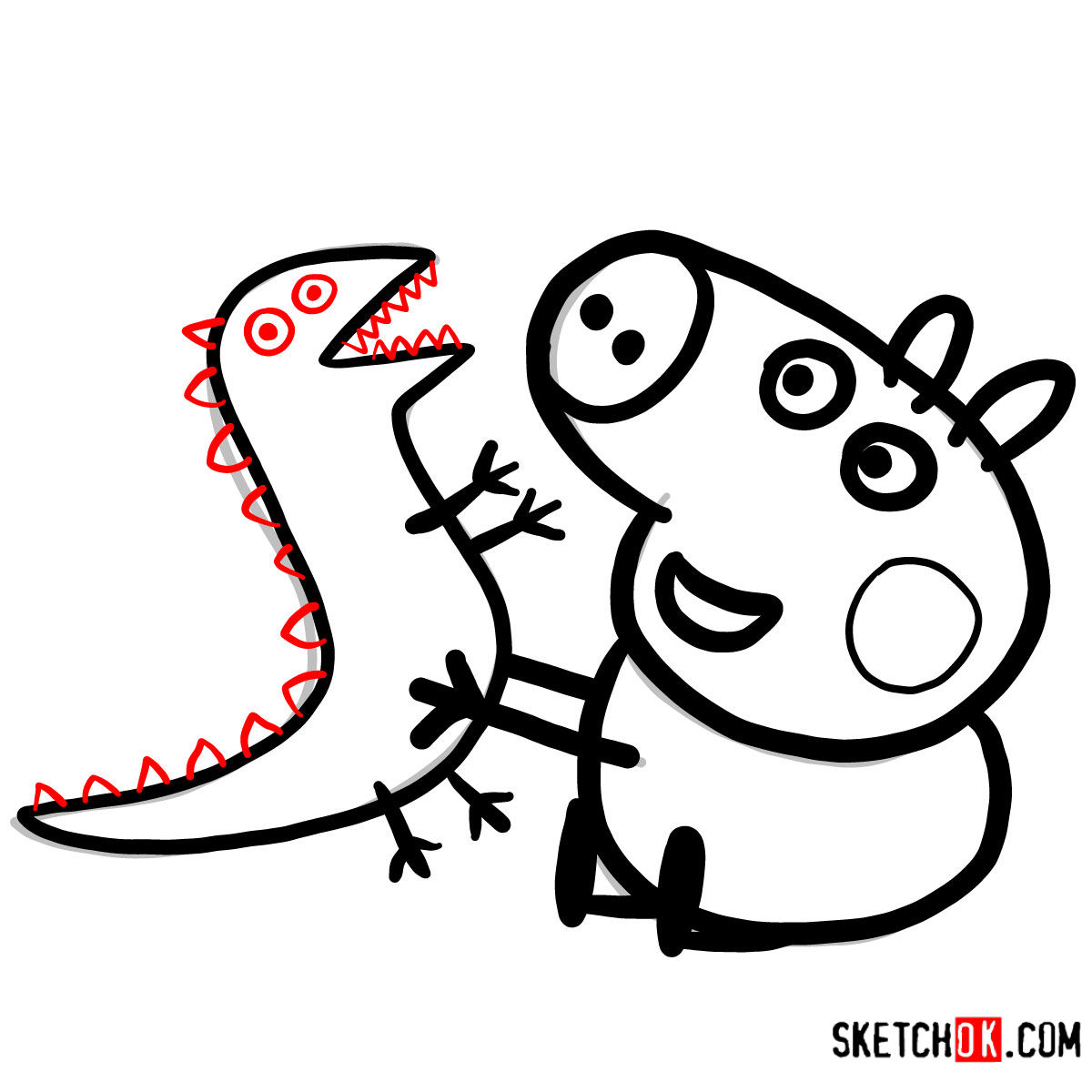 How to draw George Pig with a dino toy - step 09