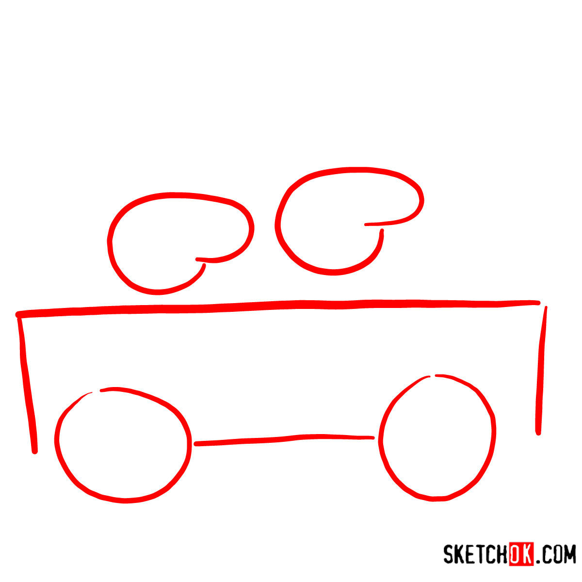 How to draw George Pig with Mummy Pig riding a car - step 01