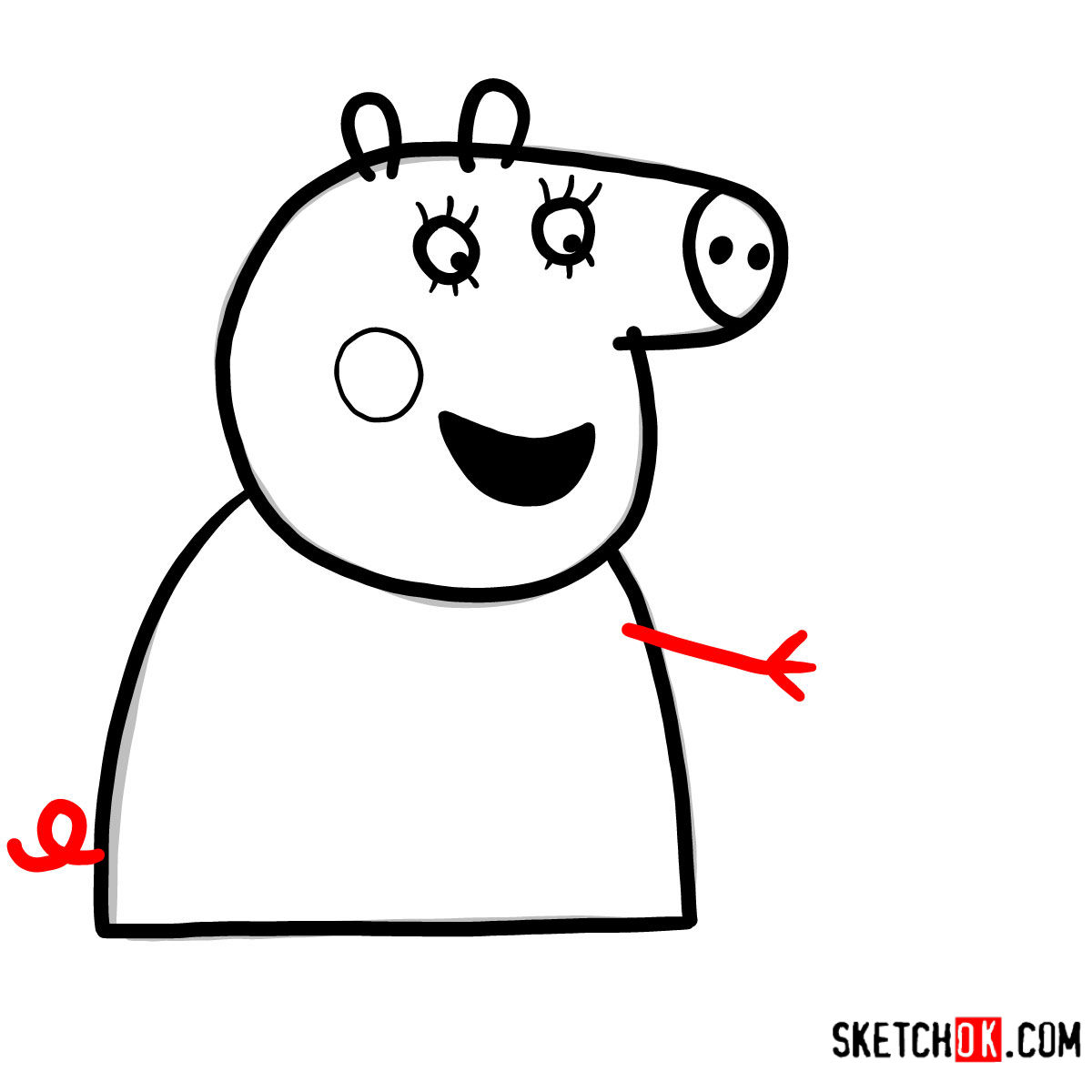 How to draw Mummy Pig reading a book - step 06