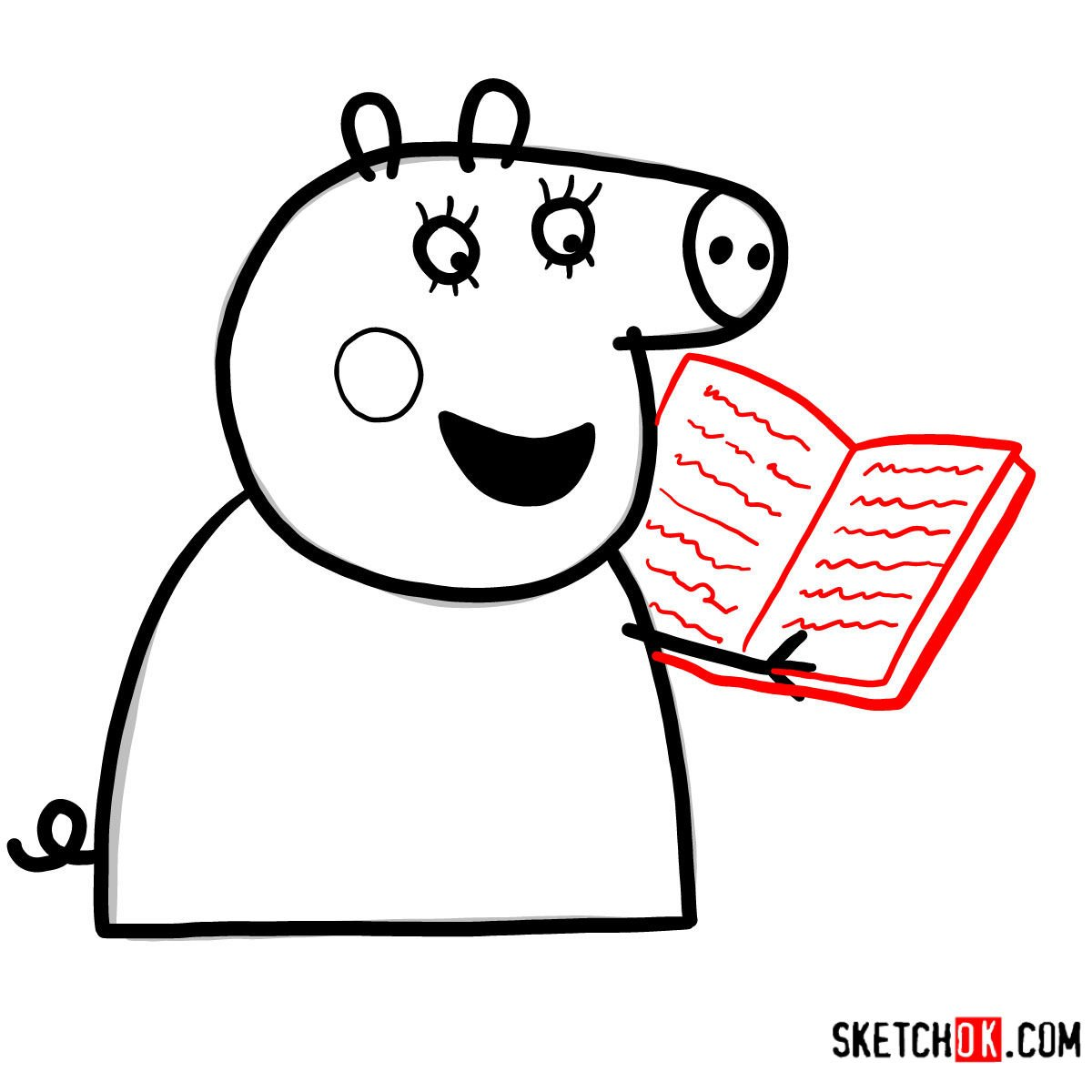 How to draw Mummy Pig reading a book - step 07