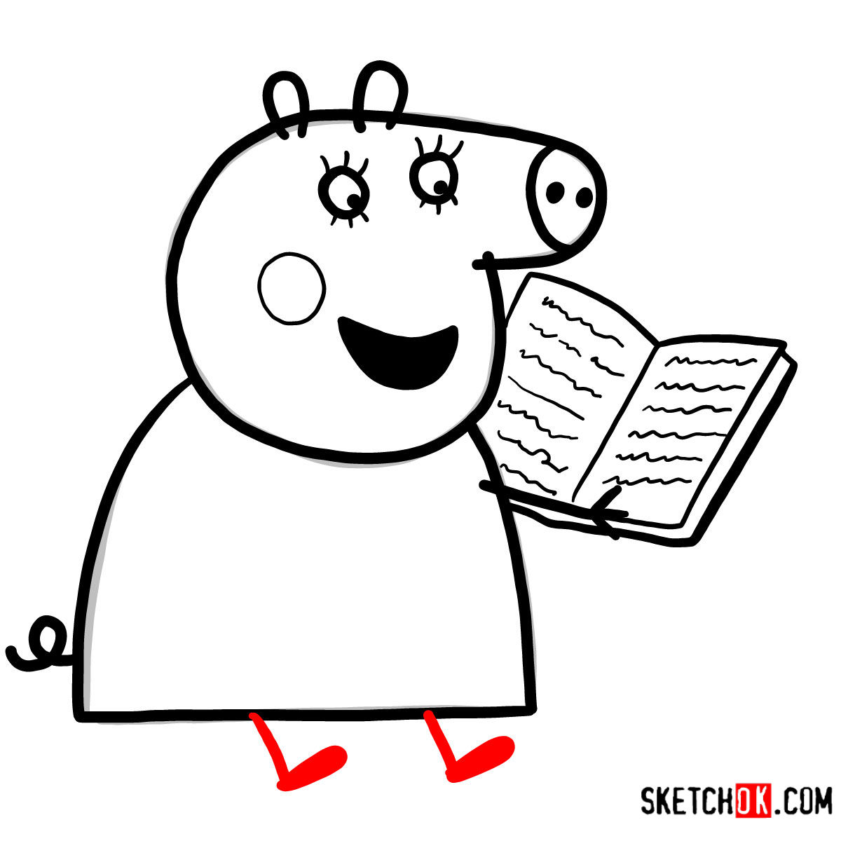 How to draw Mummy Pig reading a book - step 08