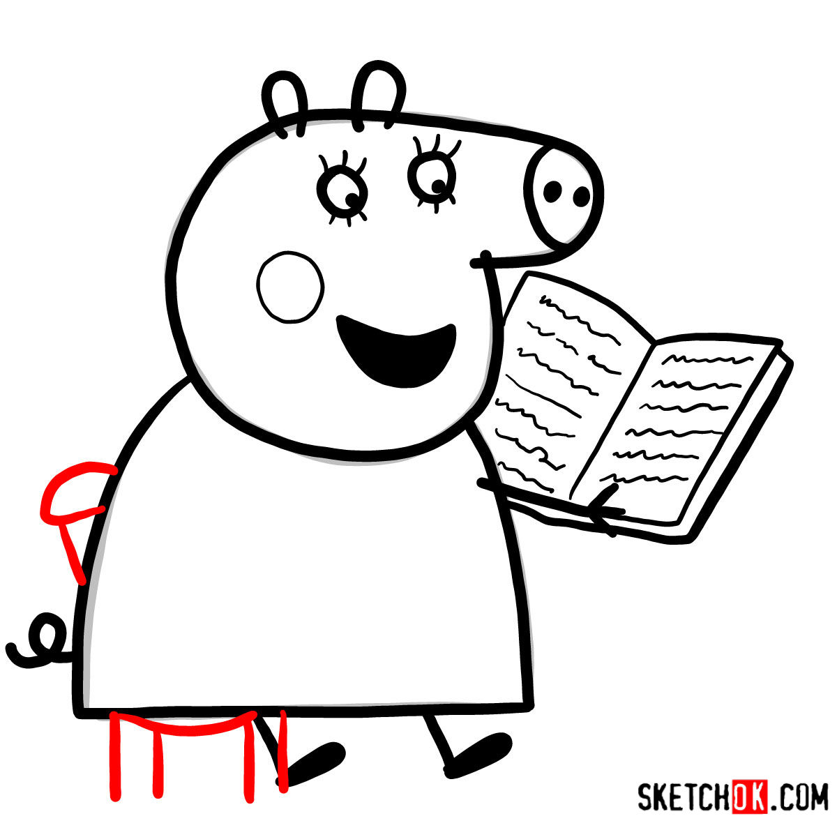 How to draw Mummy Pig reading a book - step 09