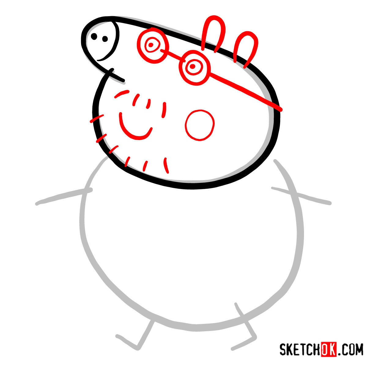 How to draw Daddy Pig - step 03