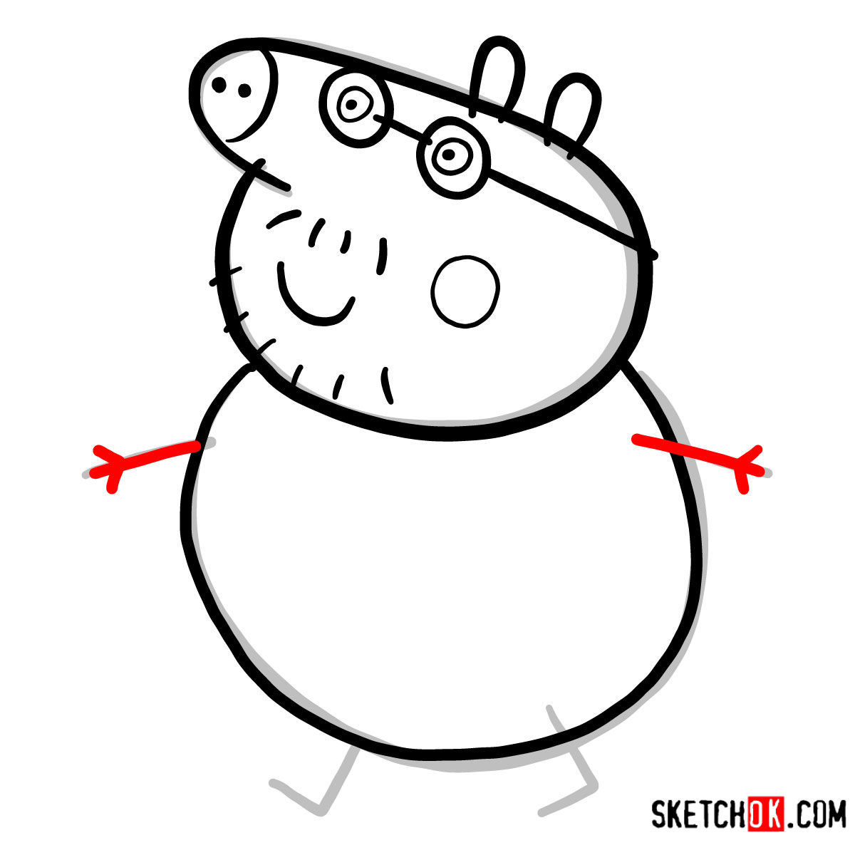 How to draw Daddy Pig - step 05