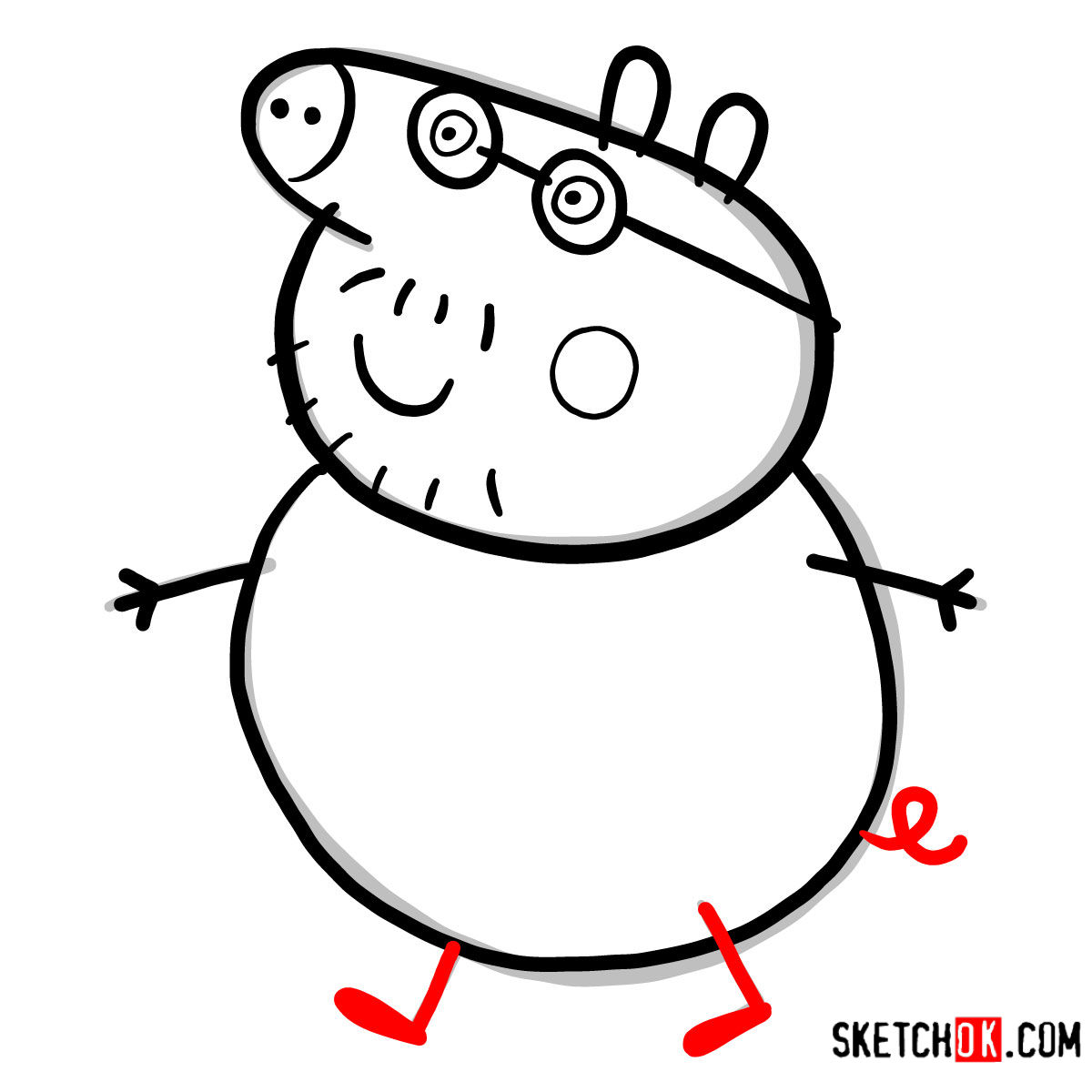 How to draw Daddy Pig - step 06
