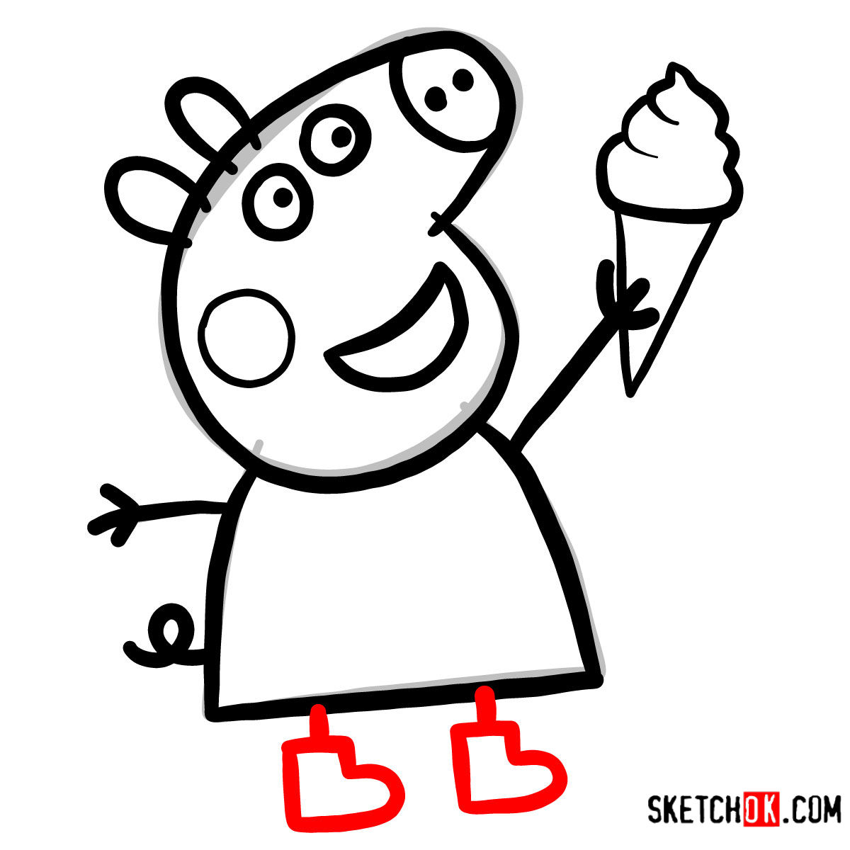 How to draw Peppa Pig with an icecream - step 08