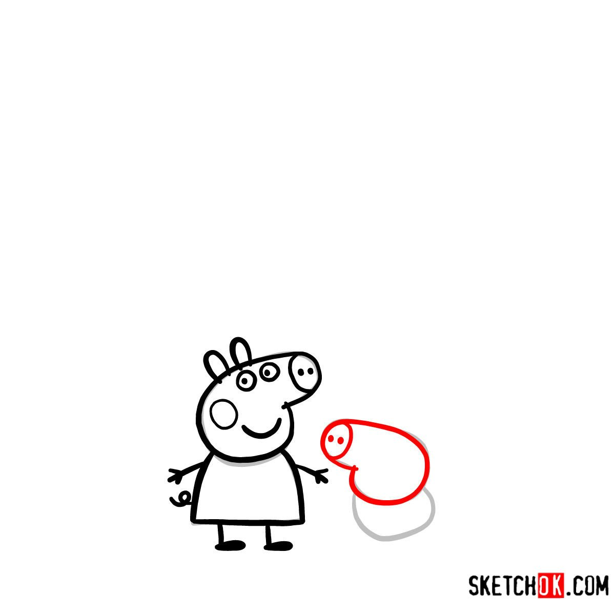 How to draw Peppa Pig's family - step 07