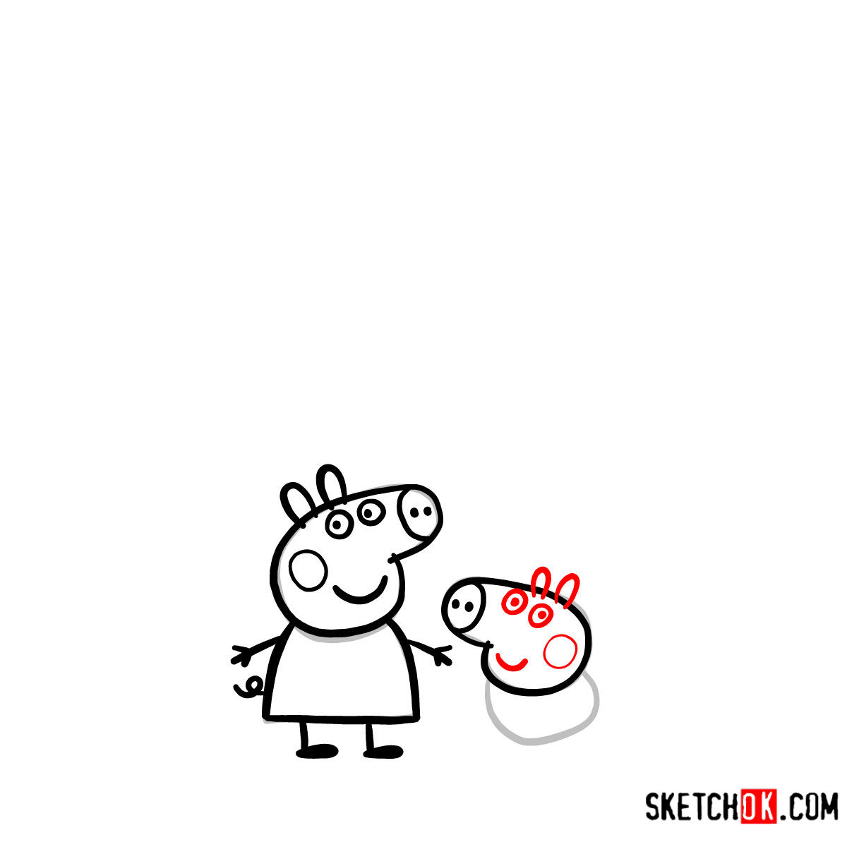 How to draw Peppa Pig's family - step 08