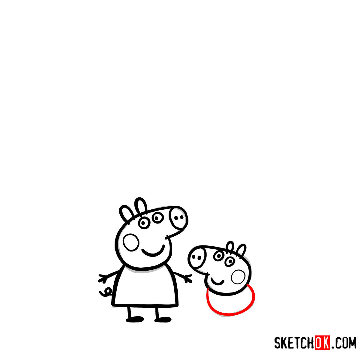 How to draw Peppa Pig's family - step 09