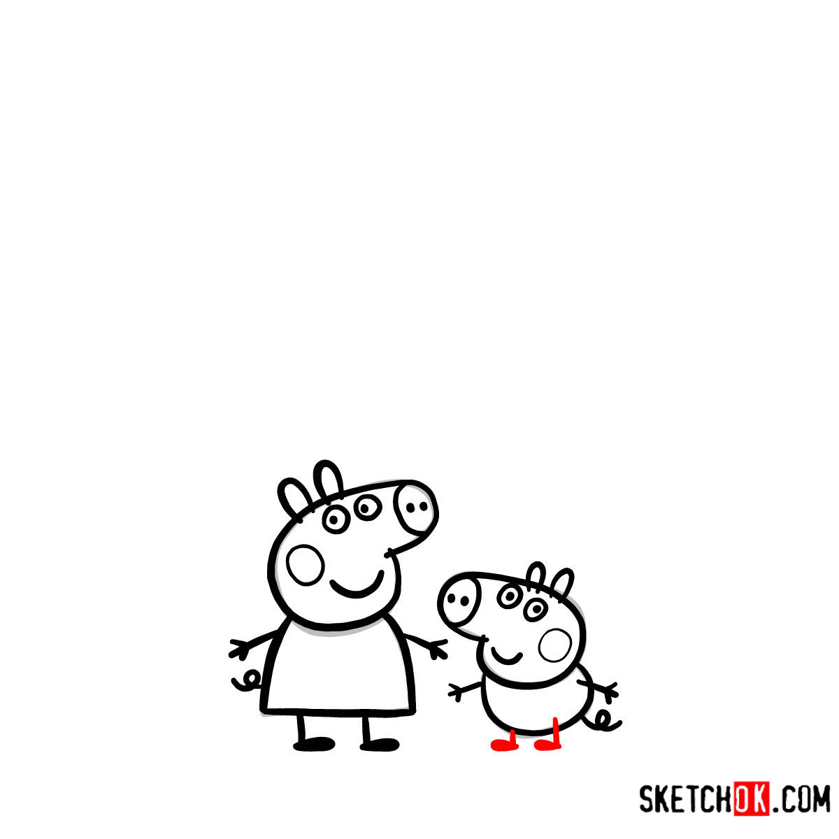 How to draw Peppa Pig's family - step 11