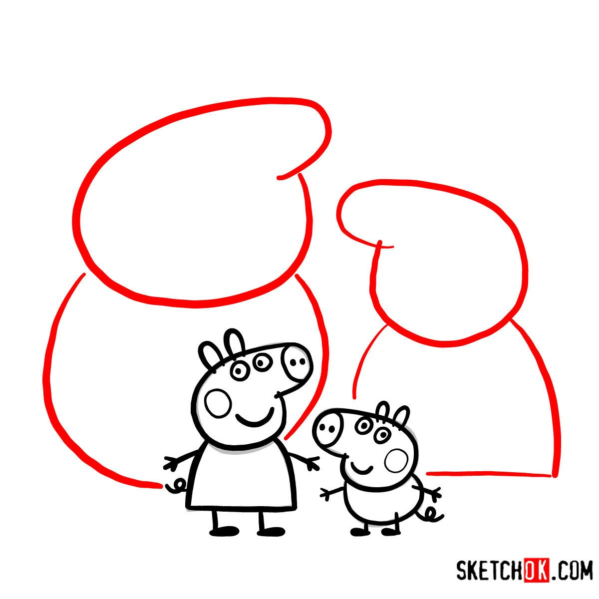 How to draw Peppa Pig's family - step 12