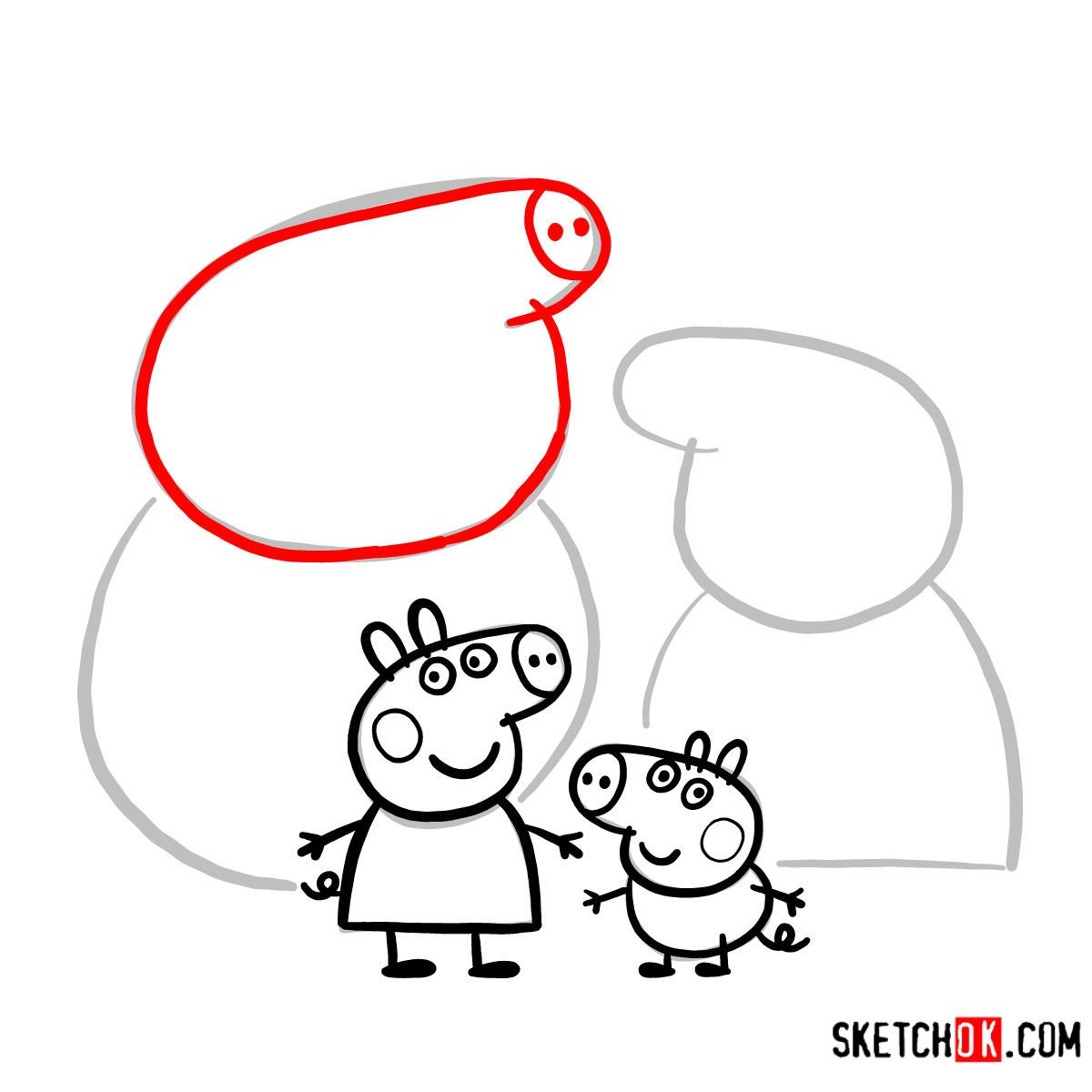 How to draw Peppa Pig's family - step 13