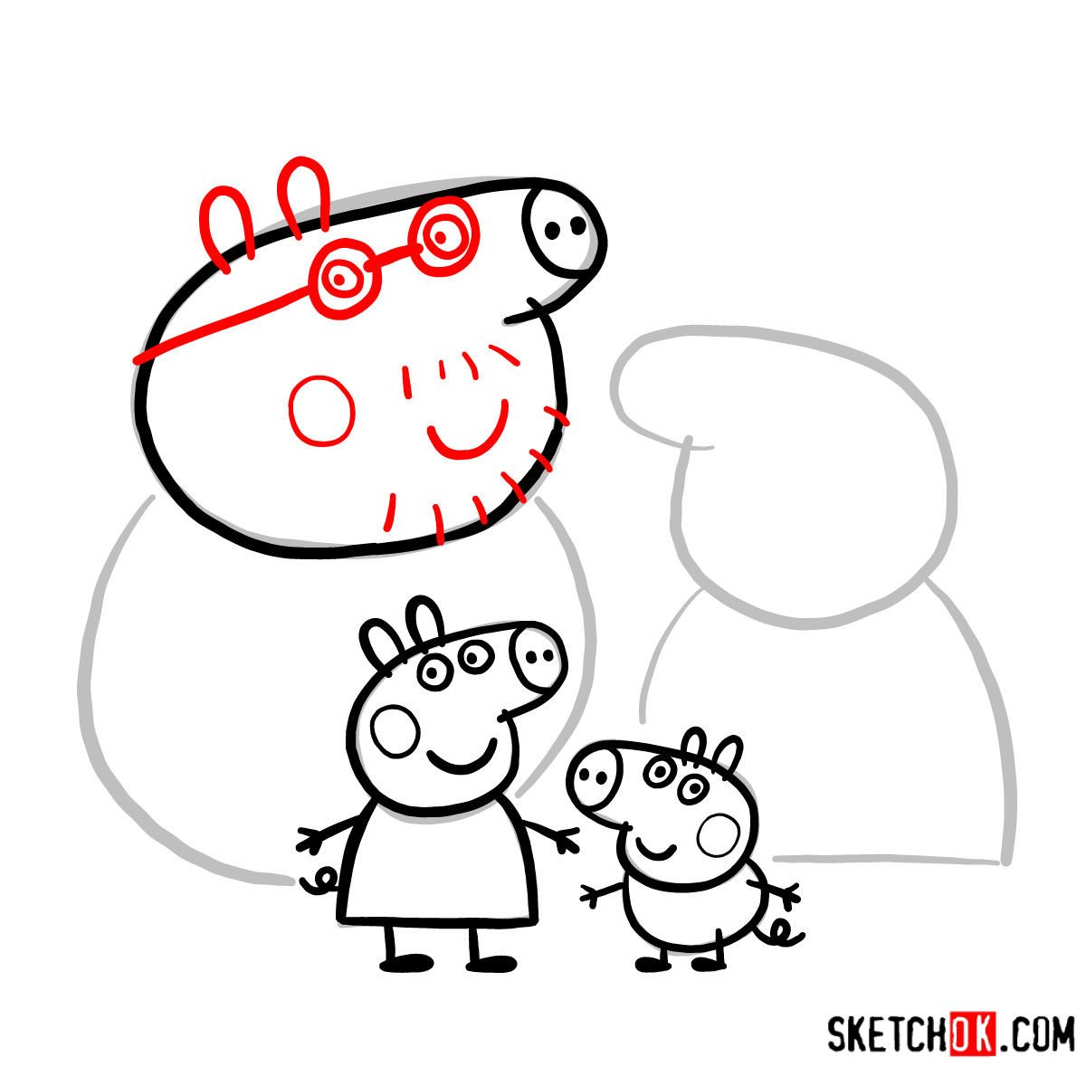 How to draw Peppa Pig's family - step 14